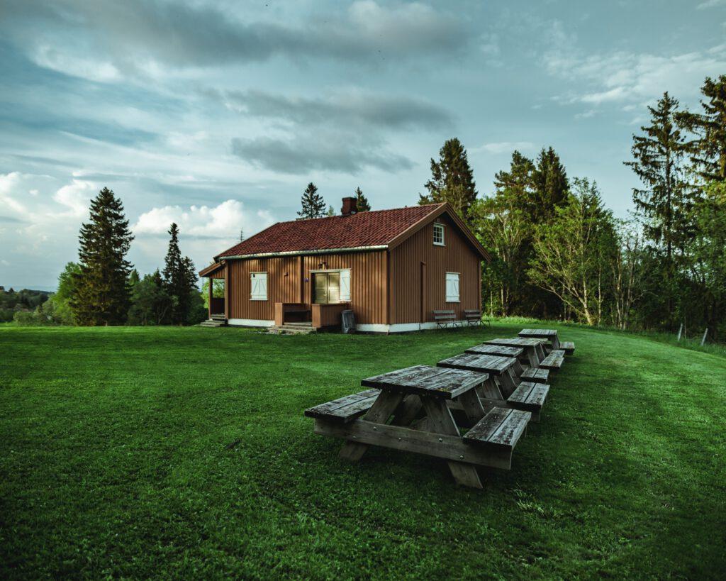 houten prieel met plat dak